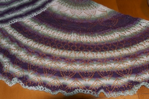 There are several different types of lace repeats in this shawl