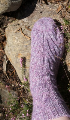 My lavender heather yarn is a pretty close match to my actual heather blooms!