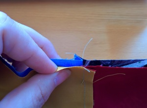 I'm holding the seam a bit open here so you can see how they come together.