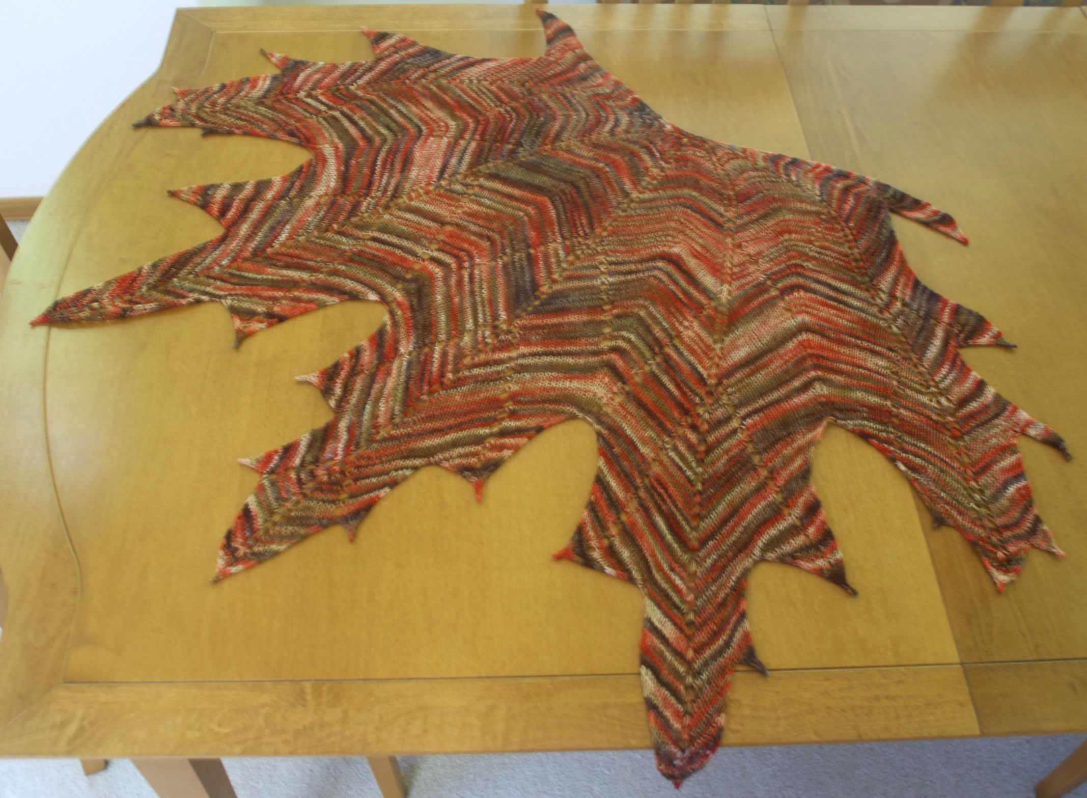 FO - Maple Leaf Shawl from my Yarn Swap (details in comments) : knitting