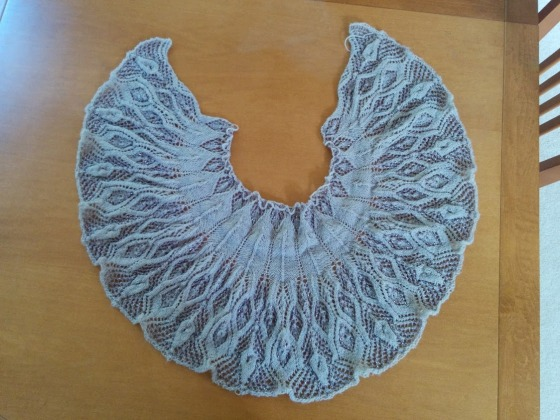 Its a nice crescent shawl with a bit of a ruffle/flutter texture
